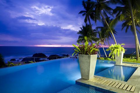 pool light at night blue